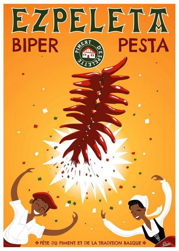 Emblème basque: le piment d'Espelette mis en scène. Affiche Clavé
