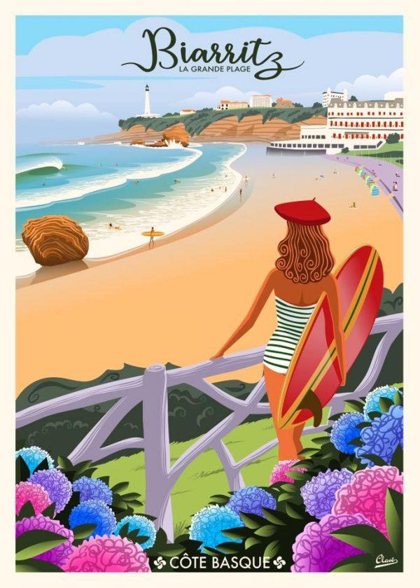 La belle à Biarritz le surf, le béret au couleur du BO