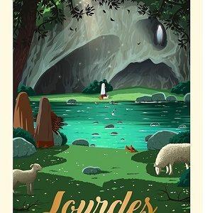Affiche Lourdes – La grotte de Massabielle
